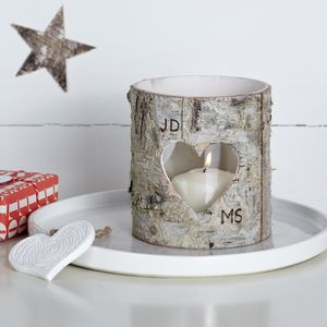 Personalised Birch Bark Vase / Candle Holder - tree decorations