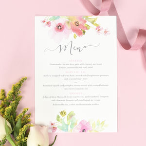 Juliette Wedding Menu Cards - wedding stationery