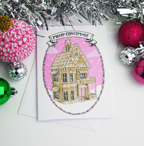 'Merry Christmas' Gingerbread House Christmas Card - cards
