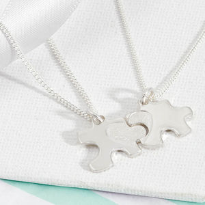 Silver Jigsaw Puzzle Necklaces