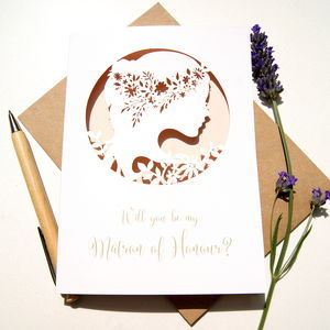 Boho Matron Of Honour Card - be my bridesmaid?