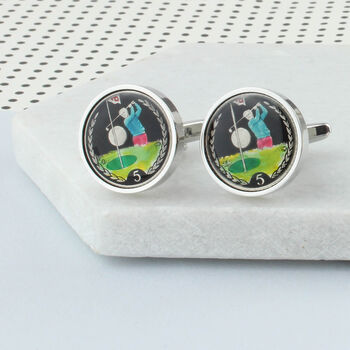 Personalised Enamelled Coin 5p Golfer Cufflinks