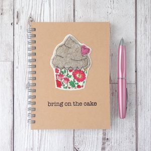 Personalised, Sewn, Cupcake Notebook