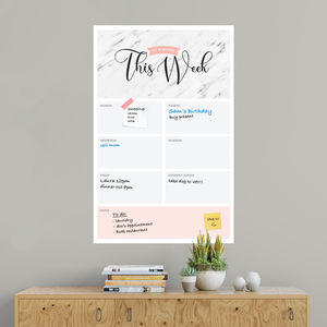 This Week Dry Erase Wall Planner Marble - office & study