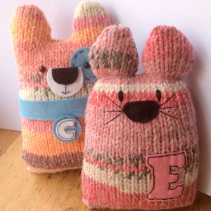 Personalised New Baby Keepsake Knitty Cats And Dogs