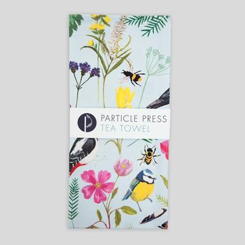 Cornish Garden Birds And Florals Tea Towel