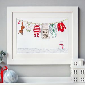 Personalised Baby's First Christmas Print - pictures & prints for children