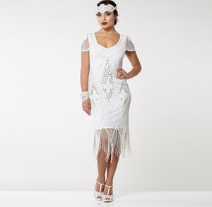 Gatsbylady Annette Fringe Flapper Dress In White Silver - dresses