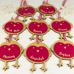 Eight Personalised Robin Keepsake Tags