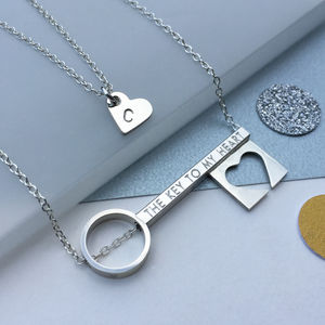 Personalised Layering 'Key To My Heart' Necklace Set
