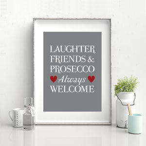 Laughter, Friends And Prosecco Print - food & drink prints