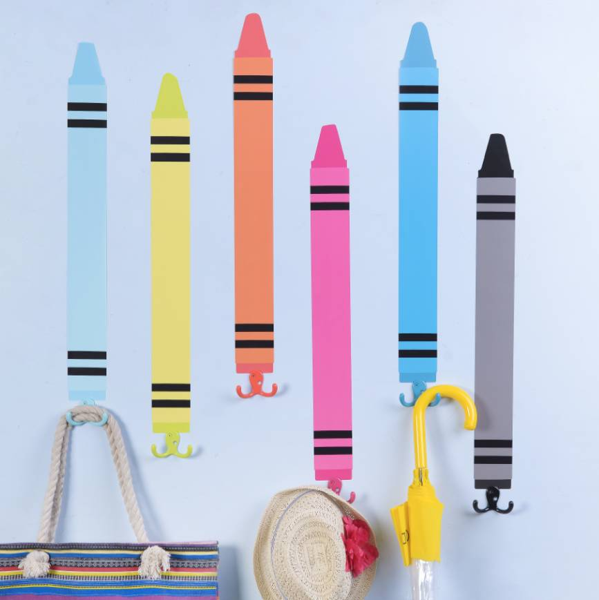 six crayon shape wall stickers with coat hooksthelittleboysroom