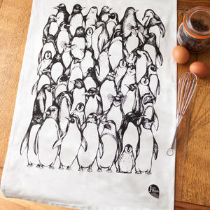 Penguin Waddle Organic Cotton Tea Towel - kitchen accessories