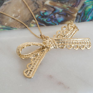 Gold Plated Lace Bow Necklace