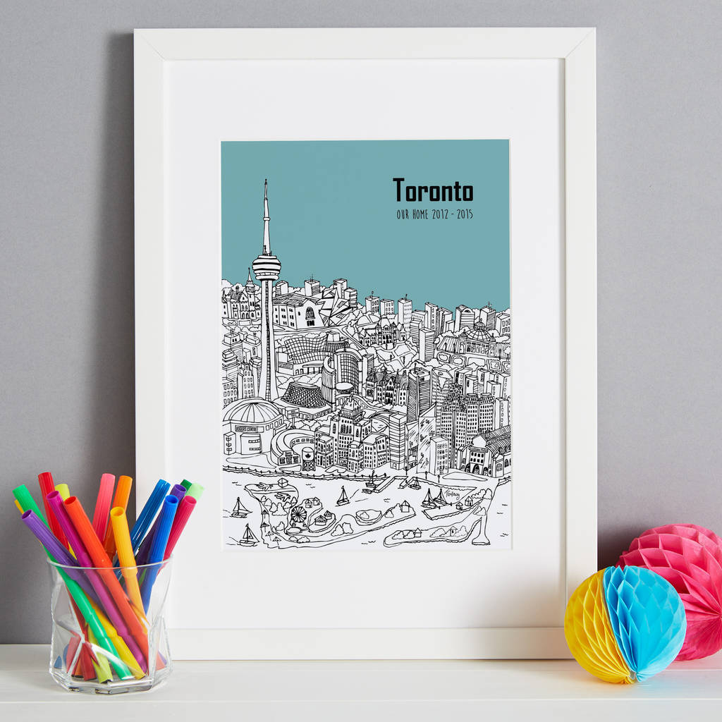 Personalised toronto print by tessa galloway illustration toronto in colour 12 turquoise font style 3 m4hsunfo