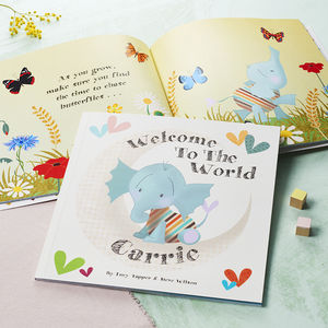 'Welcome To The World' Personalised New Baby Book - keepsakes