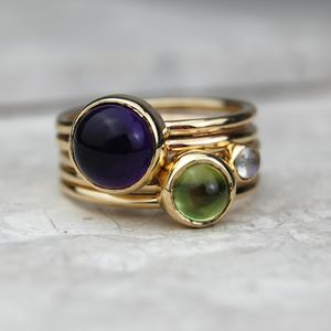 Solid Gold Amethyst And Peridot Stacking Rings - precious gemstones