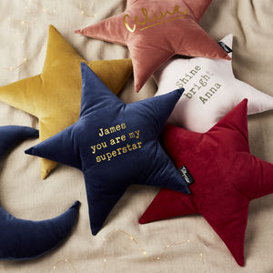 Personalised Velvet Quote Star Cushion - for over 5's