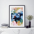 Modern Blue Abstract Art Print A5 A4 A3 Framed Art
