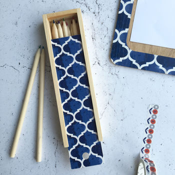 Isabel Pencil Box, Geometric Blue Pencil Case