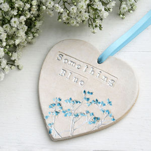 Floral Something Blue Hanging Heart