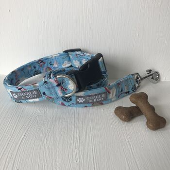 Blue Rainbow Dog Collar And Lead Set For Boy And Girls