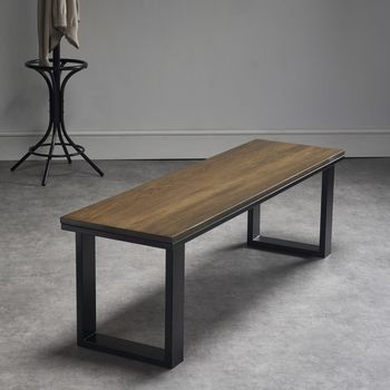 Dark Oak Bench With Powder Coated Steel Legs