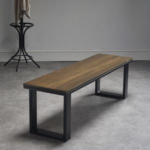 Dark Oak Bench With Powder Coated Steel Legs - dining room