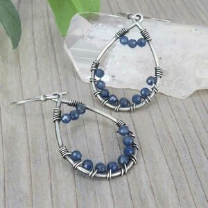 Sapphire And Sterling Silver Drop Earrings