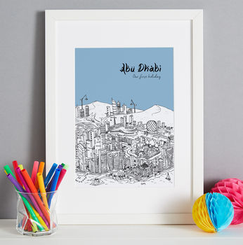 Abu Dhabi print in colour 8-Sky Blue, font style 2