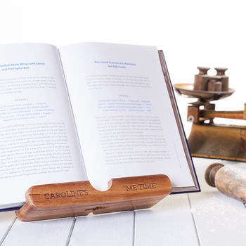 Personalised Cookbook And Wooden Tablet Stand