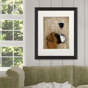Boxer, Dog Au Vin, Boxer Print Wine Gift - animals & wildlife