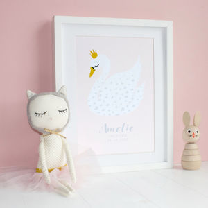 Personalised Swan Print - gifts for babies