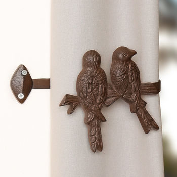 Set Of Two Cast Iron Lovebird Curtain Ties