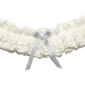 Luella Frill Vintage Lace Silk Bow Wedding Garter - lingerie accessories