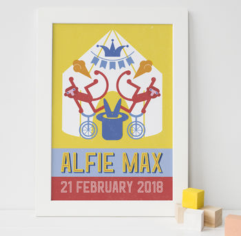 new baby print, nursery print, baby gift, personalised new baby gift, circus print