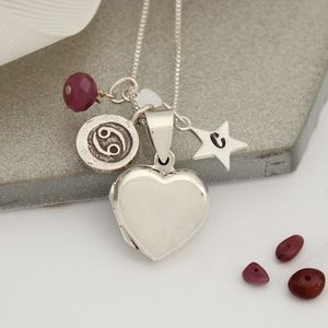 Personalised Silver Heart Locket With Birthstones - children's jewellery