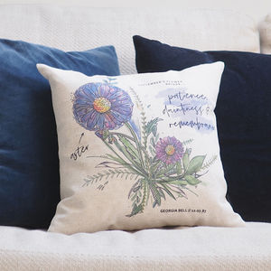 Personalised Birth Month Flower Cushion - free delivery gifts to mainland UK
