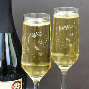'Prosecco Ho Ho Ho' Christmas Glass