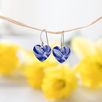 Blue And White Heart Floral Earrings