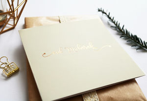 Eid Mubarak Card Cream With Gold Foil Typography - blank cards