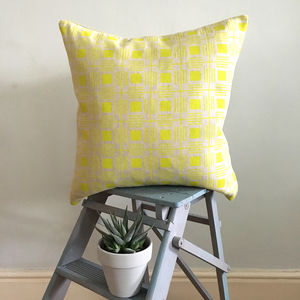 Screen Printed Modern Geometric Box Pattern Cushion - cushions
