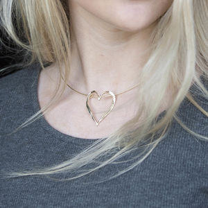 Solid 9ct Gold Textured Open Heart Necklet
