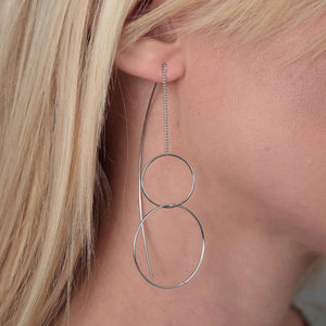 Circle Pull Through Earrings - jewellery sale