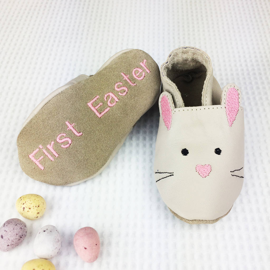 Personalised rabbit baby shoes by born bespoke notonthehighstreet personalised first easter gift negle Gallery