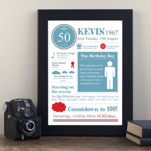 50th Birthday Personalised 1967 Print