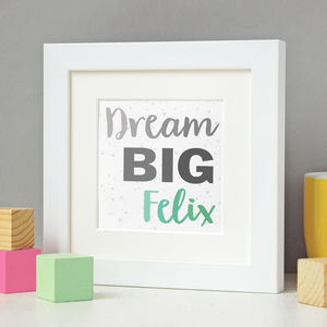 New Baby Personalised Dream Big Framed Print - typography