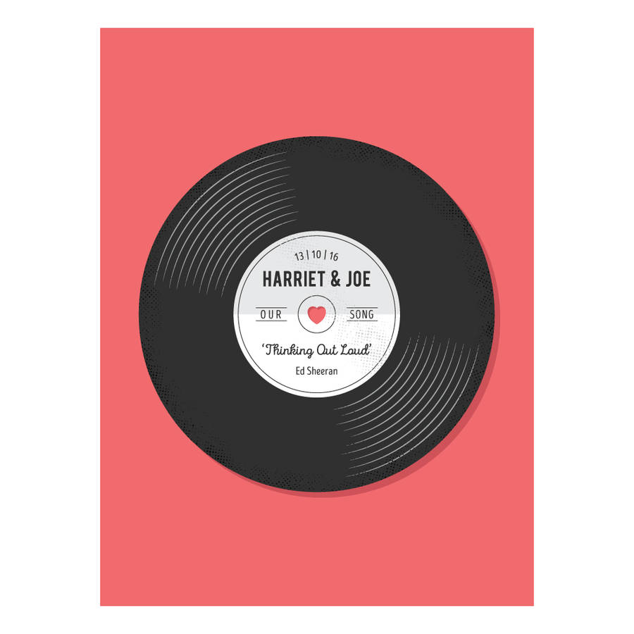personalised record wedding or anniversary gift print by bird key