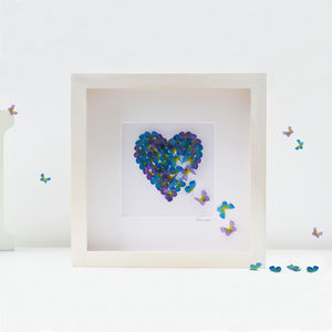 Forget Me Not Butterfly Heart Picture/ Anniversary