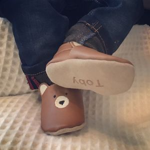 Personalised Leather Bear Baby Shoes - clothing